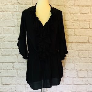 Rebecca Taylor black silk shirt dress size 2